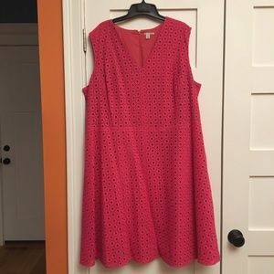 Halogen pink eyelet fit and flair dress